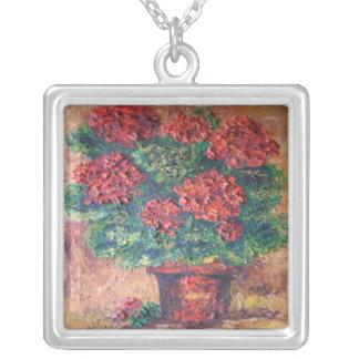 赤い美しいを絵を描いているネックレスアンヘイェズ シルバープレートネックレス