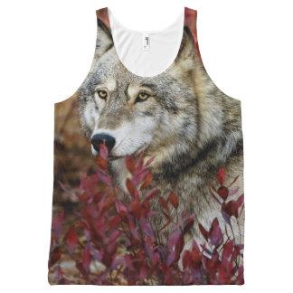 赤い群葉のオオカミ オールオーバープリントタンクトップ