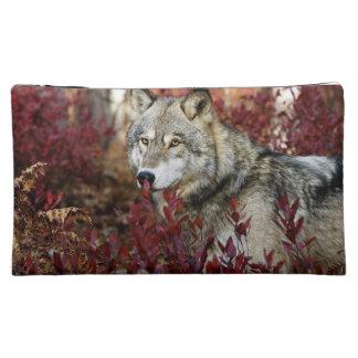 赤い群葉のオオカミ コスメティックバッグ