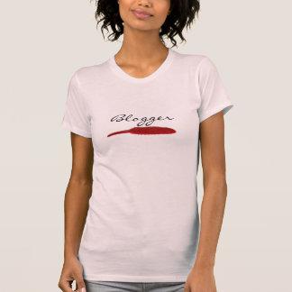 赤い羽のデザイン-ブロガー Tシャツ