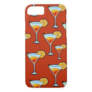 赤い背景が付いているオレンジ飲み物パターン iPhone 8/7ケース