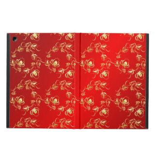 赤い背景のばら色の花パターン iPad AIRケース