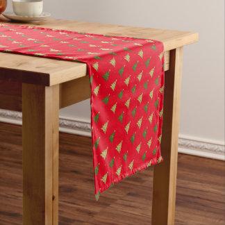 赤い背景のクリスマスツリーパターン ショートテーブルランナー
