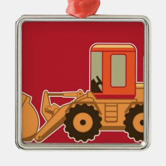 赤い背景の交通機関Payloader メタルオーナメント