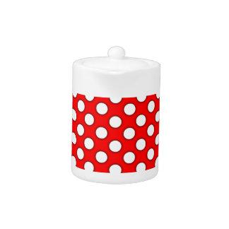 赤い背景の水玉模様パターンデザイン