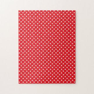 赤い背景の白い水玉模様 ジグソーパズル