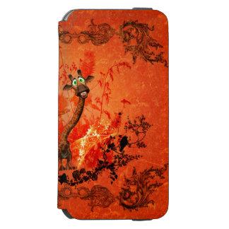 赤い背景の花を持つおもしろいな猫のキリン INCIPIO WATSON™ iPhone 6 財布ケース