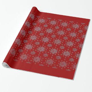 赤い背景の雪片 ラッピングペーパー