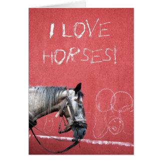 赤い背景の馬 カード