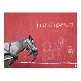 赤い背景の馬 ポストカード