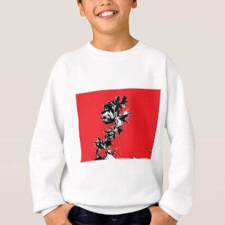 赤い背景の黒の葉 スウェットシャツ
