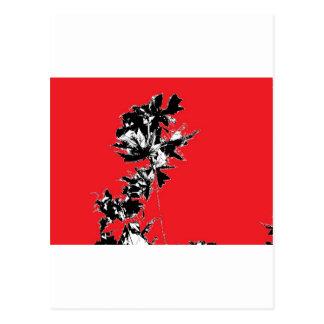 赤い背景の黒の葉 ポストカード