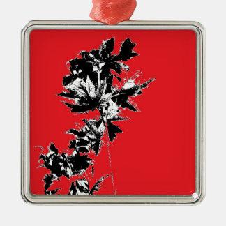 赤い背景の黒の葉 メタルオーナメント