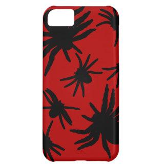 赤い背景を持つ黒いくも iPhone5Cケース