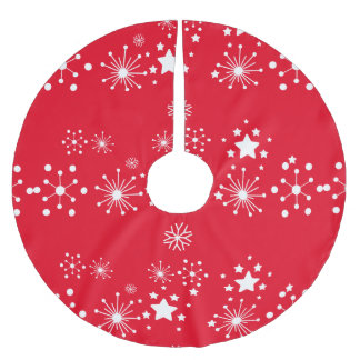赤い背景上の白い星 ブラッシュドポリエステルツリースカート