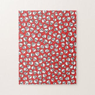 赤い背景11x14のスカルはギフト用の箱によって困惑します ジグソーパズル