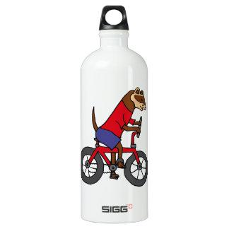 赤い自転車に乗っているおもしろいなフェレット ウォーターボトル