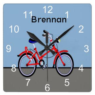 赤い自転車 スクエア壁時計
