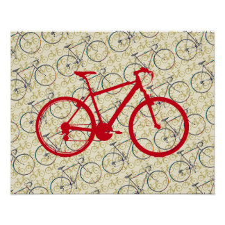 赤い自転車。 バイク装飾 ポスター