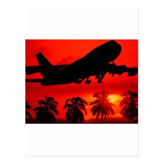 赤い航空会社の日没 ポストカード