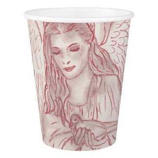 赤い色合いの平和な天使 紙コップ