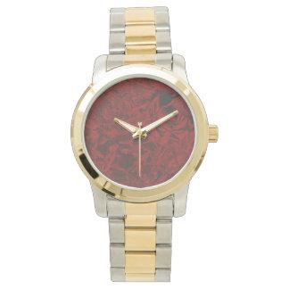赤い花いっぱいのプリント 腕時計