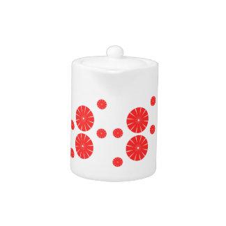 赤い花いっぱいの円のティーポット