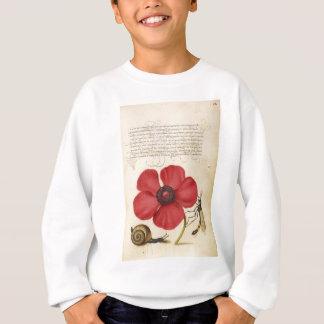 赤い花およびかたつむり スウェットシャツ