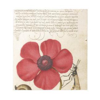 赤い花およびかたつむり ノートパッド
