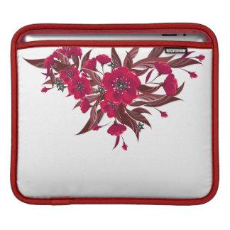 赤い花が付いているiPadの袖 iPadスリーブ