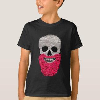 赤い花のひげのヒップスターのスカルのワイシャツ Tシャツ
