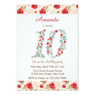 赤い花のアルファベットの女の子の誕生日の招待状 12.7 X 17.8 インビテーションカード