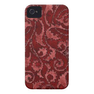 赤い花のスパンコールのグリッターのビロードの一見の箱 Case-Mate iPhone 4 ケース