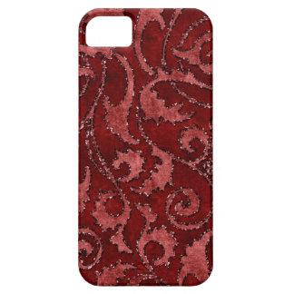 赤い花のスパンコールのグリッターのビロードの一見の箱 iPhone SE/5/5s ケース