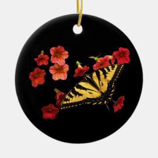 赤い花のトラのアゲハチョウの蝶 セラミックオーナメント