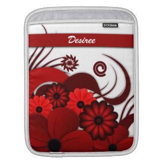 赤い花のハイビスカスの縦のiPadの袖カバー iPadスリーブ
