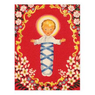 赤い花のベビーイエス・キリスト ポストカード