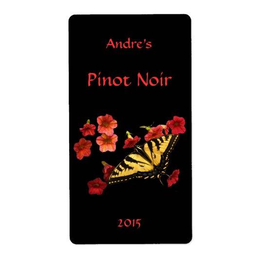 赤い花のワインのラベルのトラのアゲハチョウ ラベル