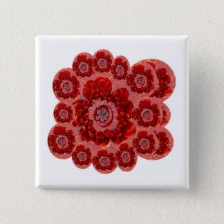 赤い花の旅行-ファンタジーの崇拝の世界 5.1CM 正方形バッジ