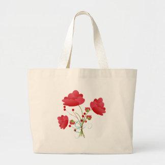 赤い花の束 ラージトートバッグ