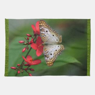 赤い花の白い蝶 キッチンタオル