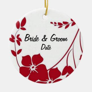赤い花の結婚式の発表の好意のオーナメント セラミックオーナメント