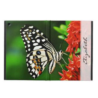 赤い花の美しい蝶 iPad AIRケース