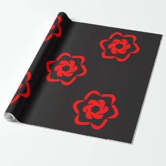 赤い花の花束 ラッピングペーパー