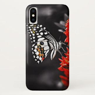 赤い花の蝶 iPhone X ケース