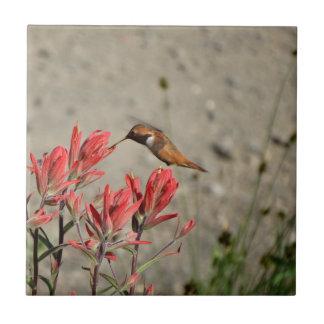 赤い花の鳥 タイル