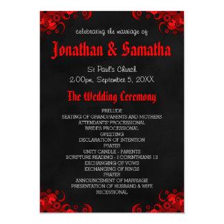 赤い花の黒い黒板のゴシック様式結婚式プログラム 12.7 X 17.8 インビテーションカード