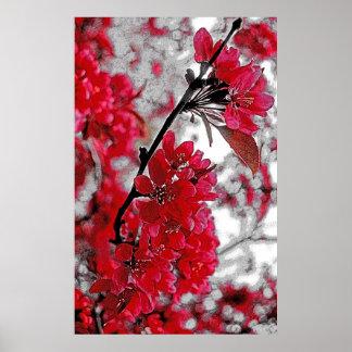 赤い花ポスター-薄い灰色の背景幕 ポスター