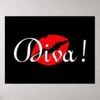 赤い花型女性歌手のキス ポスター