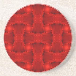 赤い花弁のリボンの織り方 コースター